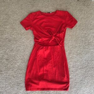 Zara Trafaluc Red Dress with Open Tie in front
